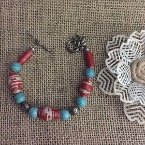 "Paper Bead & Turquoise Bracelet 7.5"""